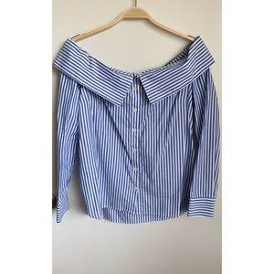 BARDOT | Off The Shoulder Stripe Button Up Blouse